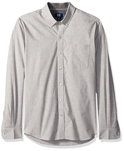 Cutter & Buck Men's Big and Tall Long Sleeve Non-Iron Heather Button Down Collared Shirt, Heather Grey, LT (Big And Tall Baumwolle Kleid Shirt)