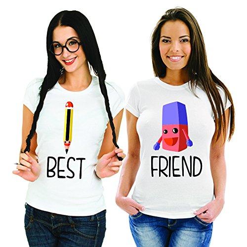 Coppia Di T Shirt Magliette You And Me Best Friend Matite Gomma Bianche