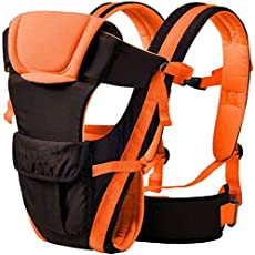 Ineffable 4 IN 1 Deluxe Series-4 Way Baby Carrier with Wide Shoulder Straps, Adjustable Belts and Cushioned Portions (Orange, Back Carry)