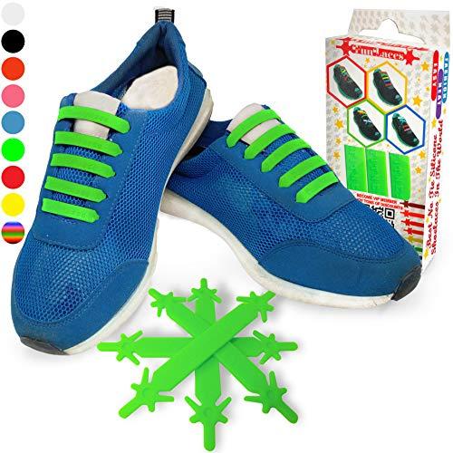 Gummi Schnürsenkel (Grün - Kinder) - Elastische Silikonschnürsenkel mit besonderem Design, einfaches Schnüren und Aufschnüren - Perfekt für Kleinkinder Vorschulkinder körperlich benachteiligte Kind