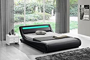 Fournier Décoration CW8316N Soon-Night Lit à LED/Sommier Faux Cuir Noir Mat 160 x 200 cm