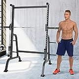 Physionics Power Squat-Rack Cage mit Linearlagerführung für sicheres Training und Hantelablage | Kraftstation, Fitnessstation, Kniebeugenständer, Langhantelständer (max. Belastung 250kg)