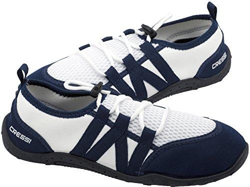 Cressi Elba Pool Shoes, Scarpette Ideali per Mare, Spiaggia, Barca, e Sport Acquatici Vari Unisex Adulto, Bianco/Blu, 39