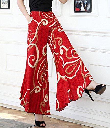 f5a155fd89fd Aivtalk Damen Weite Bein Hose Frauen Elegante Chiffon lange Hosen Frauen  Blumen Druck Weite Bein Pluderhose