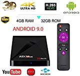 [2019 Versione] A5x Max + Android 9.0 TV Box 4GB+32GB 4K Ultra HD Smart TV Box RK3328 Quad-Core 64bit CPU Set Top Box Supporto 2.4G WiFi 100M LAN Ethernet 3D H.265 HDR con Telecomando