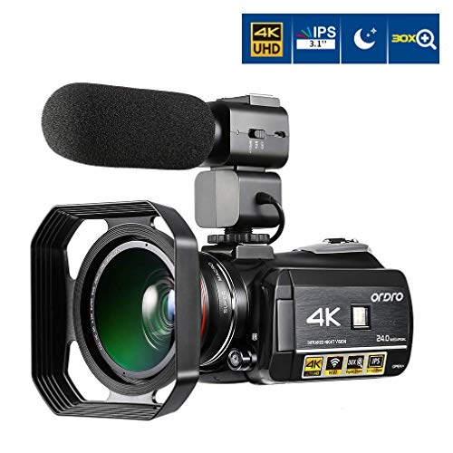 Camcorder 4K ORDRO 3,1 Zoll IPS-Touch Screen 4K Ultra HD Nachtsicht WiFi 1080P 60FPS Digitale Videokamera 30X Digital Zoom Camcorder mit Mikrofon und Weitwinkelobjektiv