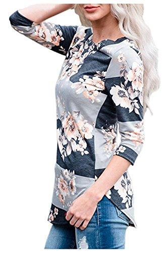 Issza Damen Herbst Blumen Spleiß Druck Langarm Rundhals Pullover Bluse Oberteil Tops T-Shirt Grau M Passen Sie Ihr Eigenes T-shirt