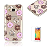 For Samsung J3(2016 Model) Case J310 Cover [with Free Screen Protector], Funyye Fashion lovely Lightweight Ultra Slim Anti Scratch Transparent Soft Gel Silicone TPU Bumper Protective Case Cover Shell for Samsung J3(2016 Model)-Doughnut
