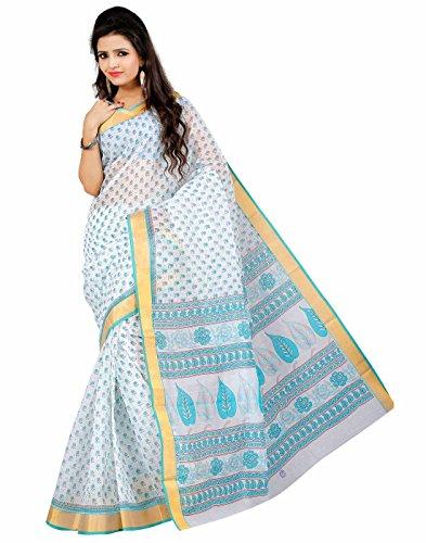 Roopkala Silks & Sarees Cotton Saree with Blouse Piece (Ma-1005 _White)