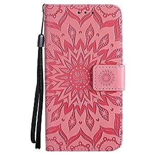 Lomogo LG Q6 / Q6+ (Q6 Plus) Hülle Leder Blumenprägung, Schutzhülle Brieftasche mit Kartenfach Klappbar Magnetverschluss Stoßfest Kratzfest Handyhülle Case für LG Q6 / LGM700N – LOKTU20672 Blau