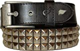 Lowlife Triple S Leather Belt - Black Silver - X Small