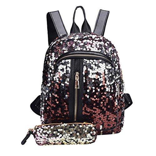 Trada Schultasche, Damenmode Mädchen Pailletten Schultasche Rucksack Reise Umhängetasche + Clutch Wallet Bling Kupplung Handtasche Schultertasche Schulrucksäcke Rucksack (Rot)