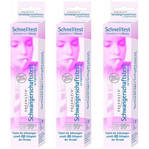 Pregnafix Schwangerschafts-Schnelltest, mit sicherem Ergebnis in nur einer Minute, 3er Pack (3 x 1 Stück)
