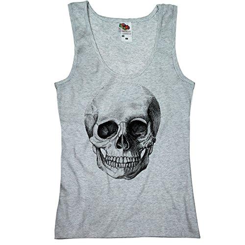 TEE-Shirt, Women Tank-Top Totenkopf S,Grau (Tank Top Lady Womens Girly)