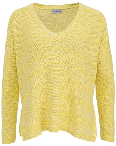 Delicatelove Damen Wax V-Neck Pullover Gelb, Größe XL