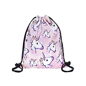 Hellathund Fashion coloré Happy Imprimé en 3D sac à dos à cordon de serrage Sac (38,1 x 27,9 cm), unicorn