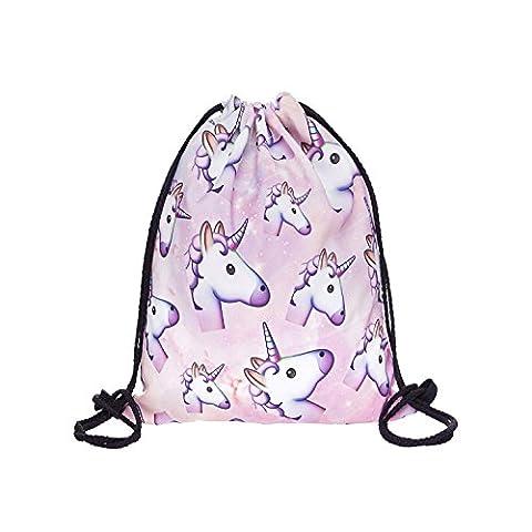 Hellathund Fashion coloré Happy Imprimé en 3D sac à dos à cordon de serrage Sac (38,1 x 27,9 cm), unicorn