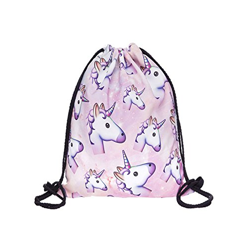 Hellathund Fashion colorato cute happy 3d stampato coulisse zaino (38,1 x 27,9 cm), unicorn