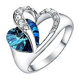 Yoursfs 18k plaqué Or blanc Solitaire en Saphir et Cristal de Bague mariage bleue 2 coeurs pour Femmes ou Hommes comme cadeau ou pour Fête