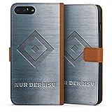 DeinDesign Tasche kompatibel mit Apple iPhone 8 Plus Leder Flip Case Ledertasche Fanartikel Merchandise Hamburger SV HSV