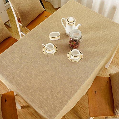 Leinen Tischdecke Quadratische Weiße (Einfachen einfarbigen tischdecken,Moderne minimalistische baumwolle leinen tischdecken für rechteck quadrat runder tisch für esstisch blau grau weiß braun-E 130x190cm(51x75inch))