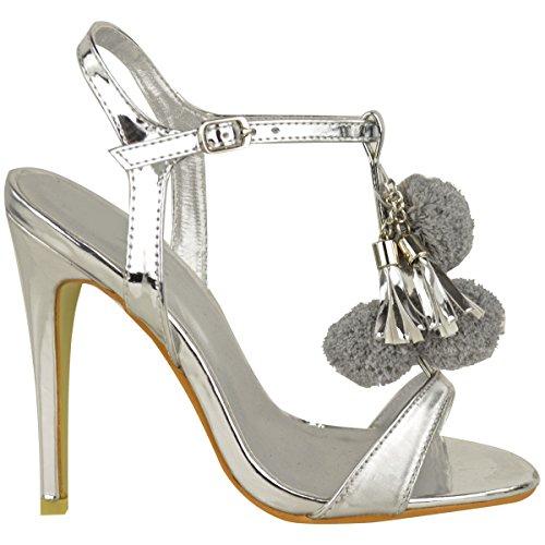 Donna Sandali Da Donna Soffice Pom Pom Marabù Cinturino Alla Caviglia Tacco Alto Festa Misura Argento metallizzato