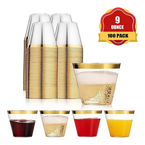 Plastikbecher Trinkbecher Einweg Durchsichtig Trinkgefäß mit goldenem Rand für Party Geburtstag Hochzeit Bar Cafe Hotel (100 Pack) ()
