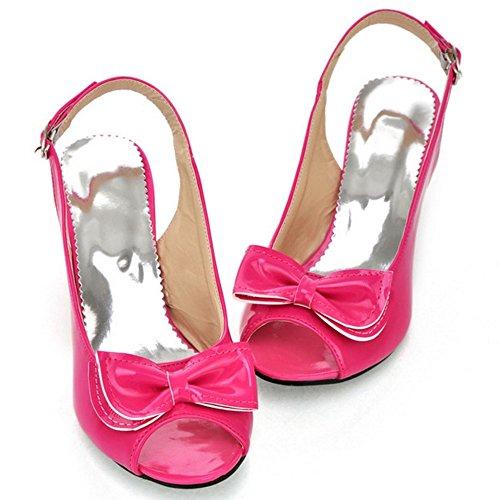 COOLCEPT Damen Mode-Event Slip On Schuhe mit Absatz Slingback Pumps Peep Toe Schuhe mit Bogen Rot