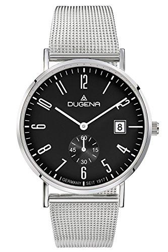 Dugena Herren Armbanduhr Mondo Edelstahl 38mm Silber/Schwarz