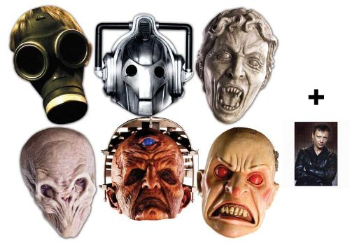 Doctor Who Monsters Halloween Karte Partei Gesichtsmasken (Maske) Packung von 6 (Cyberman, Silent, Smiler, Davros, Empty Child und Weeping Angel)