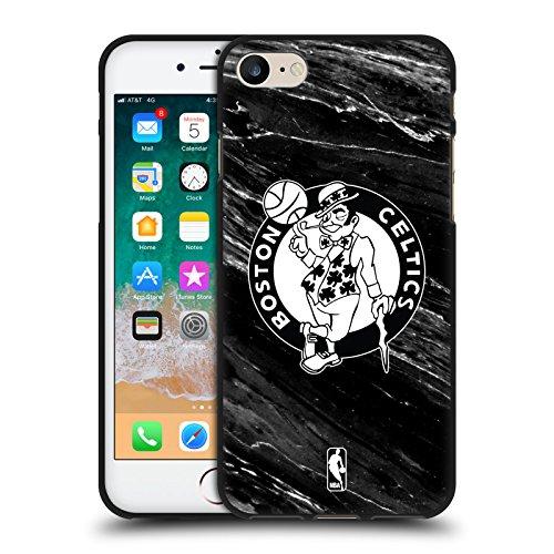 Head Case Designs Ufficiale NBA Marmo B&N Boston Celtics Cover in Morbido Gel Nera per Apple iPhone 7 / iPhone 8