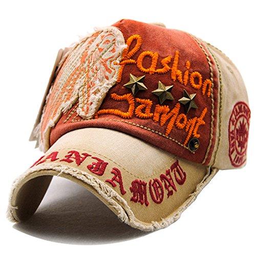 Kuyou Vintage Baseball Mütze Caps Distressed Sport Trucker Hat (Khaki)