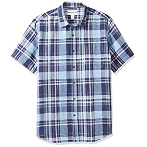 Amazon Essentials Herren-Hemd, Kurzarm, reguläre Passform, bedruckt, aus Leinen