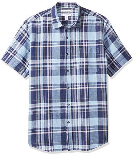 Amazon Essentials Regular Fit Short Sleeve Stripe Linen Shirt Button Navy Plaid Us Xl Uk 44 46