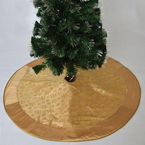 gireshome 127cm Gold Beflockung Schneeflocke Baum Rock Weihnachtsbaum Röcke Gold Satin Xmas Tree Dekoration Merry Christmas Supplies Weihnachten Dekoration - Schneeflocke Baum Rock
