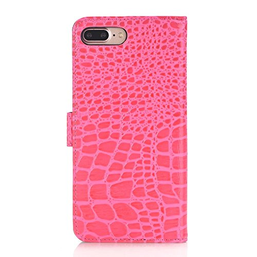 Crocodile Texture Pattern Portefeuille Stand Case Rétro Flip Portefeuille Stand Case pour Apple IPhone 7 Plus ( Color : Red , Size : IPhone7 Plus ) Rose