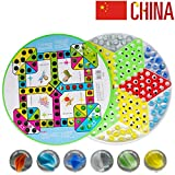 WEIFAN Chinesische Dame - Brettspiele, Dame und fliegendes Schach 2 in 1, Verschenken von 60 Perlen, Mehrspieler-Familienspiele (Glass Marbles Checkers)