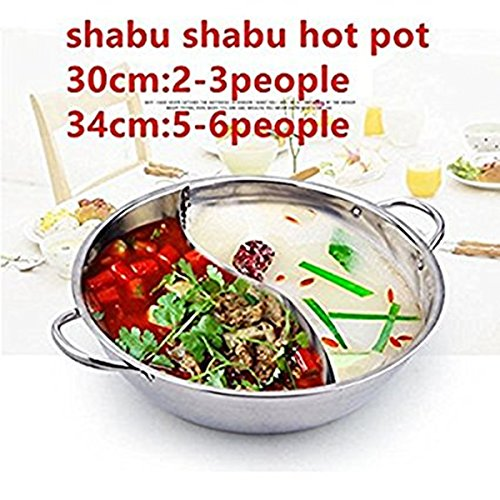 Shabu Shabu Hot Pots With Divider Dual Sided Stainless Steel Yin Yang Pot Cookware (2-3 people)
