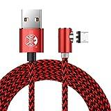 Distinct 3M Nylon Geflochten 360 Grad Runde magnetische Micro USB Ladekabel, L Seite Schnittstelle Magnet Adapter für Android Samsung, LG, Sony, Huawei Geräte (Rot)