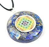 Pendant Orgonite with Multi Coloured Flower of Life symbol - Lapis Lazuli - Blue by Vivre-Mieux