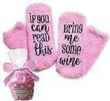"""Pinke Wein Luxus Socken """"If You can read this bring me some wine"""" mit Muffin-Geschenk-Verpackung Geschenke für sie - Lustige Geschenke als Wein-Zubehör für Frauen -für Wein Freundin, Weintrinker, Hauseinweihung"""