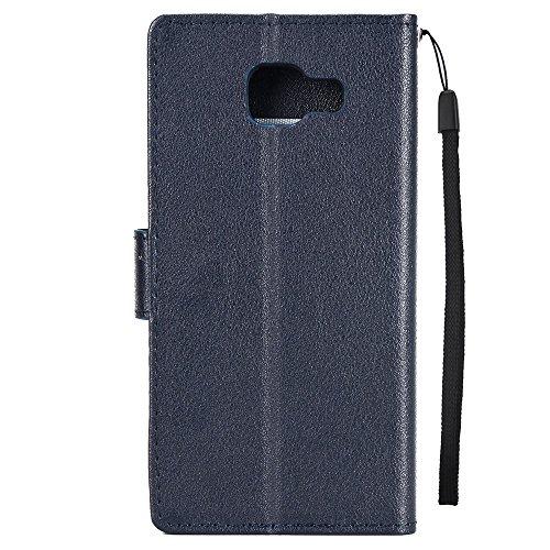 Classic Premiu PU Ledertasche, Horizontale Flip Stand Case Cover mit Cash & Card Slots & Lanyard & Soft TPU Interio Rückseite für Samsung Galaxy A520 ( Color : Wine ) Darkblue