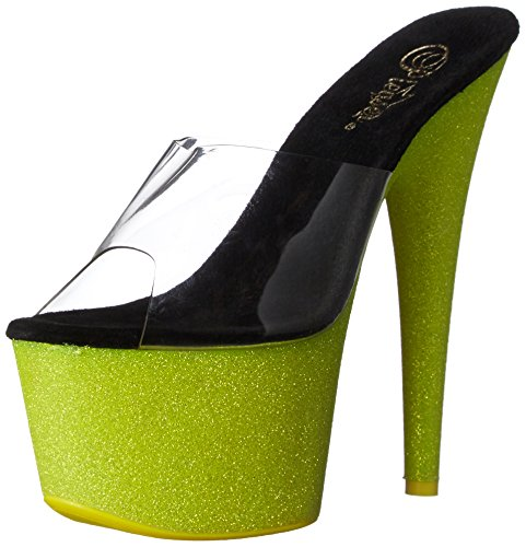 Pleaser Adore 701uvg, Sandales Femme Clr/Neon Yellow Glitter