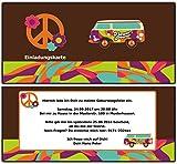 Einladungskarten Retro Hippie Geburtstag Geburtstagseinladung Flower Power 80 Stück