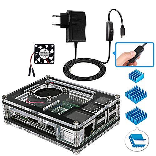 Miuzei Raspberry Pi 3 b+ Gehäuse mit Lüfterkühlung, 3 × Aluminium Kühlkörper, 5V 2.5A Netzteil, USB Kabel mit EIN/Aus Schalter Kompatibel mit Raspberry Pi Modell 3b+, 3b, 2b - Gehäuse-set