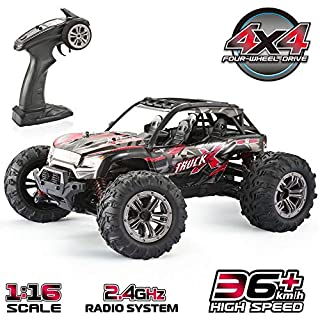 Remote Control Car, 1:16 RC Car Off Road Electric Fast Truck Rock Crawler 4x4 Wheel 36 km/h Remote Controlled Cars Toy Vehicles for Kids and Adults