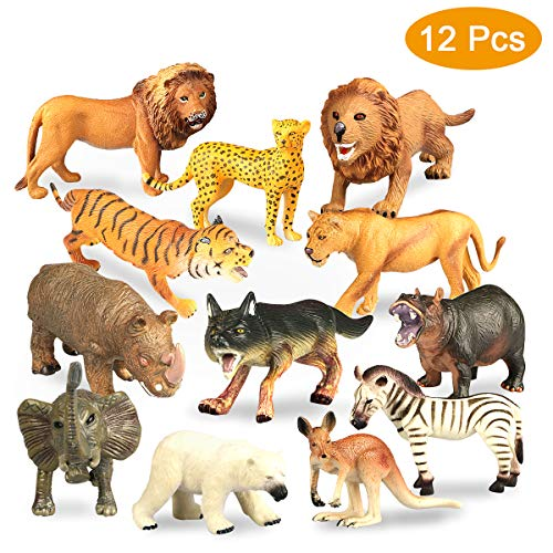 Estela Figuras Animales, 12 PCS Mini Selva Conjunto de Juguetes Animales Plástico...