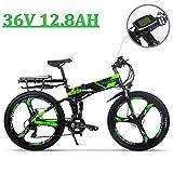 eBike_RICHBIT 860 Hommes Vélo Électrique Pliant,Pleine Suspension,250 W 36 V 12.8AH,Vert,Vélo de Montagne