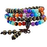 Shanxing 108 Perlen Edelstein Yoga Armband Schmuck Buddha Buddhistische Tibetische Gebetskette Mala Kette Halskette,7 Chakra & Schwarz Achat(Sechs Worte Mantra)