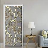 Adsjpy Creative 3D Or Feuilles Porte Autocollant DIY Home Decor Decal Autocollant Papier Peint Étanche Murale pour La Chambre Porte Rénovation77x200cm